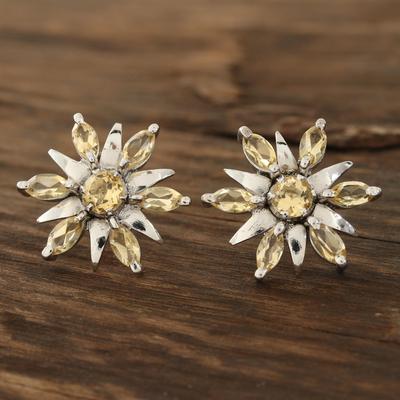 Rhodium plated citrine button earrings, 'Scintillating Stars' - Citrine flower earrings