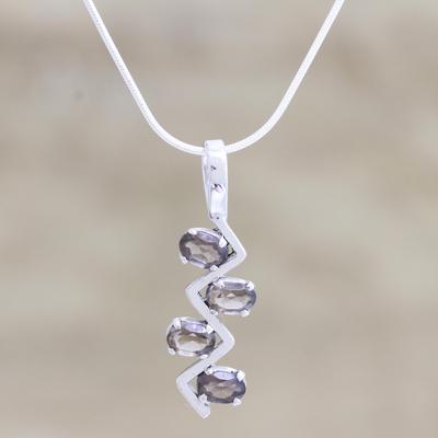 Smoky quartz pendant necklace, 'Flash' - Smoky quartz pendant necklace