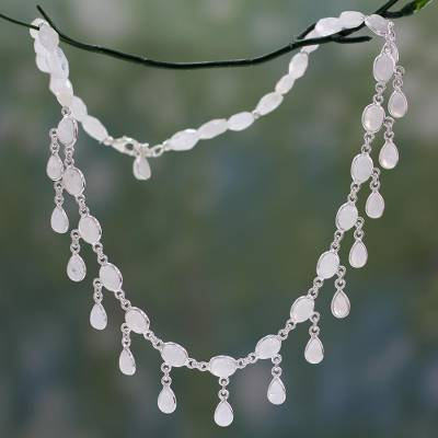 Sterling Silver Waterfall Necklace with Moonstone 'Moonlit Dancer' (India)