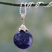 Lapis lazuli pendant necklace, 'Blue Universe' - Hand Made Sterling Silver and Lapis Lazuli Necklace