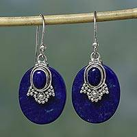 Lapis lazuli earrings, 'Constellations' - Artisan jewellery Lapis Lazuli and Sterling Silver Earrings