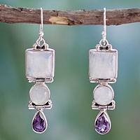 Amethyst and rainbow moonstone dangle earrings, 'Mystic Alliance'