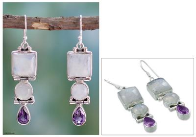 Amethyst and rainbow moonstone dangle earrings, 'Mystic Alliance' - Sterling Silver Rainbow Moonstone and Amethyst Earrings