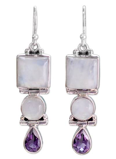 Sterling Silver Rainbow Moonstone and Amethyst Earrings