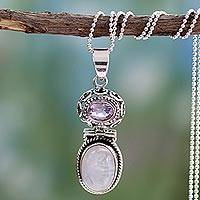 Rainbow moonstone and amethyst pendant necklace, 'Mystic'