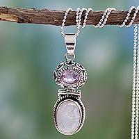 Rainbow moonstone and amethyst pendant necklace, 'Mystic' - Rainbow Moonstone and Amethyst Necklace from India