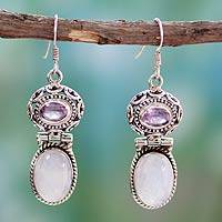 Rainbow moonstone and amethyst earrings, 'Mystic'