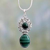Malachite necklace, 'Queen of the Forest' - Artisan Crafted Malachite and Sterling Silver Necklace