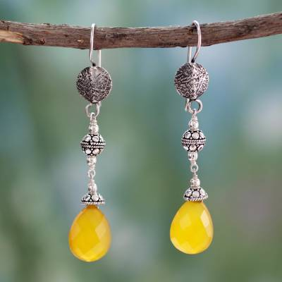 Chalcedony dangle earrings, 'Sunny Icicles' - Fair Trade jewellery Sterling Silver and Chalcedony Earrings