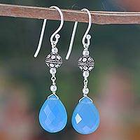 Chalcedony dangle earrings, 'Cool Icicles' - Handcrafted Chalcedony and Sterling Silver Earrings
