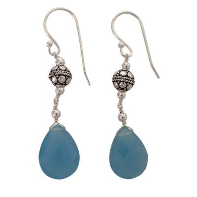 Handcrafted Chalcedony and Sterling Silver Earrings