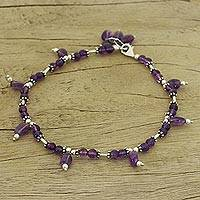 Amethyst anklet, 'Sublime Charmer' - Amethyst Anklet Artisan Sterling Silver Jewelry