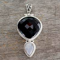 Onyx and moonstone pendant, 'Reunion' - Modern Sterling Silver Onyx Pendant