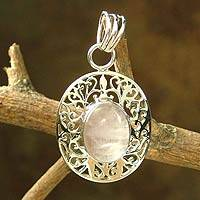 Rose quartz pendant, 'Rose Nest' - Rose quartz pendant