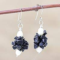 Pearl and onyx dangle earrings, 'Midnight Kiss' - Pearl and Onyx Beaded Earrings