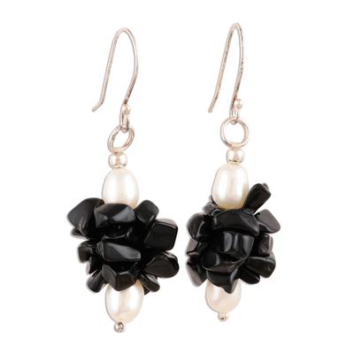Pearl and Onyx Beaded Earrings