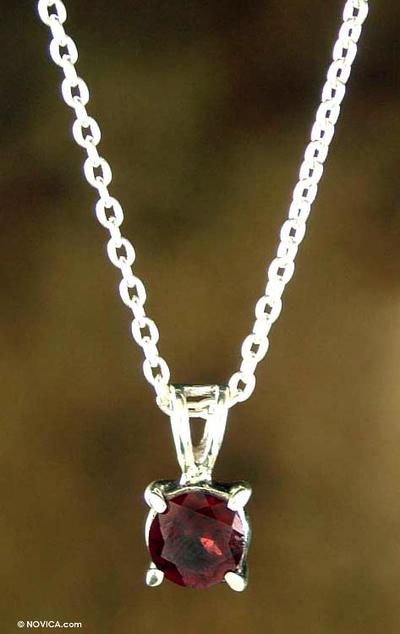 Garnet pendant necklace, 'Passion's Promise' - Garnet pendant necklace