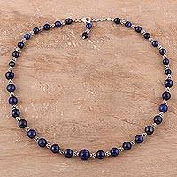 Lapis lazuli beaded necklace, 'Timeless Blue' - Sterling Silver and Lapis Lazuli Beaded Necklace from India