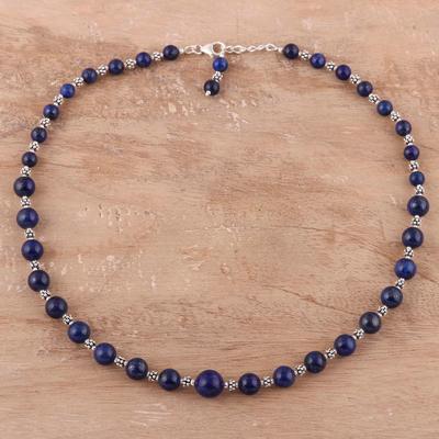 Lapis lazuli beaded necklace, 'Timeless Blue' - Sterling Silver Lapis Lazuli Necklace Beaded Jewelry