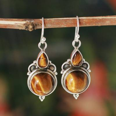 Tigers eye earrings, Golden Glow