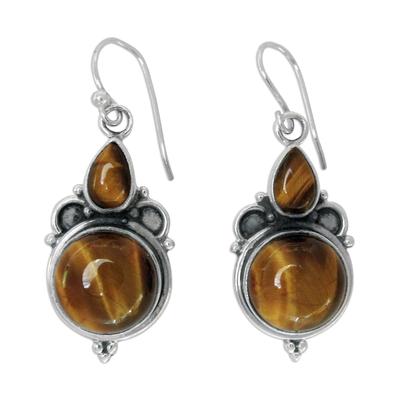 Tiger's eye earrings, 'Golden Glow' - Tiger's eye earrings