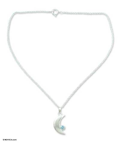 Blue topaz pendant necklace, 'Sparkling Moonlight' - Blue Topaz Crescent Moon Pendant Necklace