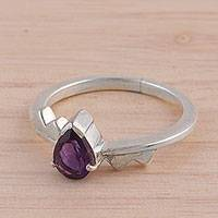 Amethyst solitaire ring, 'Kiss' - Amethyst Solitaire Ring from India