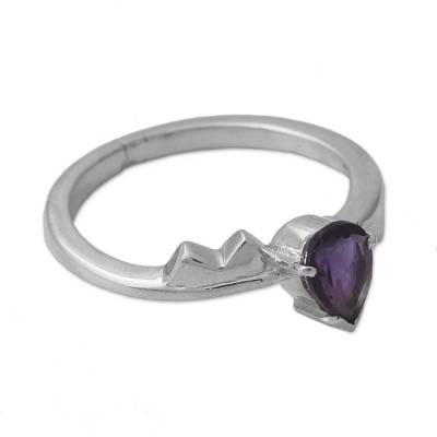 Amethyst Solitaire Ring from India