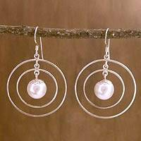 Pearl dangle earrings, 'Concentric' - Cultured Pearl Circular Dangle Earrings from India