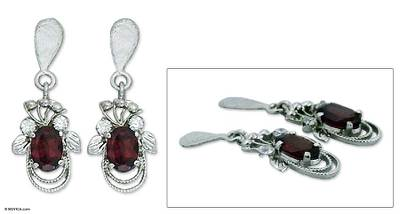 Garnet dangle earrings, 'Dazzling Dew' - Garnet dangle earrings