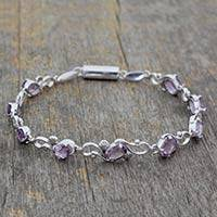 Amethyst bracelet, 'Mystic Dreams' - Amethyst and Rhodium Plated Sterling Silver Bracelet