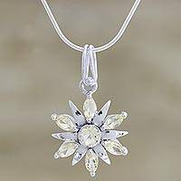 Sterling silver and quartz pendant necklace, 'Morning Star' - Sterling silver and quartz pendant necklace