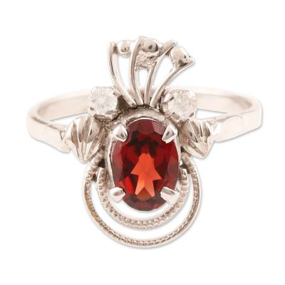 Artisan Crafted Red Garnet January Birthstone Sterling Silver Ring