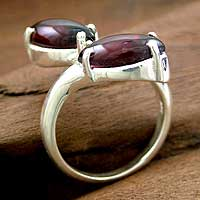 Garnet cocktail ring, 'Love Duality' - Garnet cocktail ring