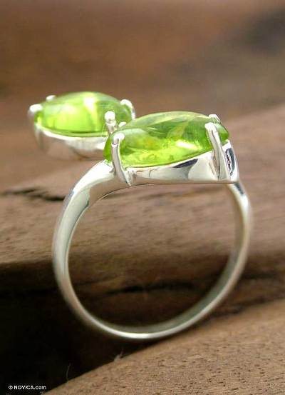 Natural Peridot Cocktail Ring Crafted in India