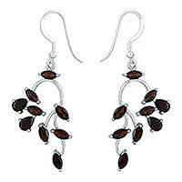 Garnet dangle earrings, 'Drifting Petals' - Garnet dangle earrings