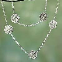 Sterling silver long necklace, 'Drifting Clouds' - Fair Trade Women's Sterling Silver Station Necklace
