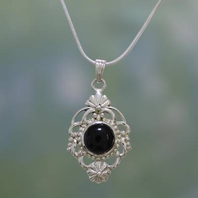Onyx pendant necklace, 'Baroque Blossom' - Hand Made Floral Sterling Silver and Onyx Necklace