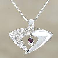 Garnet pendant necklace, 'Hold Me Lightly'