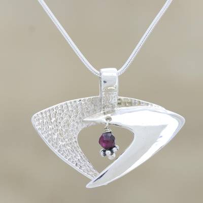 Garnet pendant necklace, 'Hold Me Lightly' - Garnet Necklace Sterling Silver India Modern Jewelry