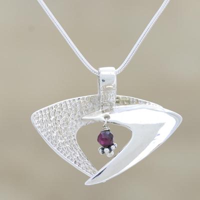 Garnet pendant necklace, 'Hold Me Lightly' - Garnet Necklace Sterling Silver India Modern Jewelry