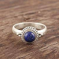 Lapis lazuli cocktail ring, 'Mystery' - Hand Made Sterling Silver and Lapis Lazuli Ring