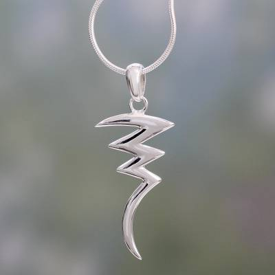 Sterling silver pendant necklace, 'Lightning' - Sterling Silver Pendant Necklace Handmade Modern Jewelry