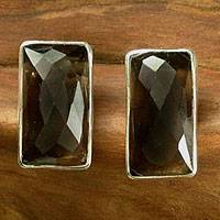 Smoky quartz stud earrings, 'Autumn' - Handmade Smokey Quartz Button Earrings
