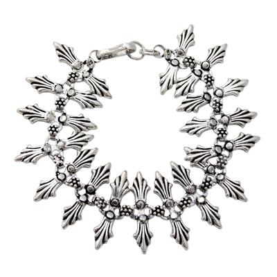 Floral Sterling Silver Link Bracelet