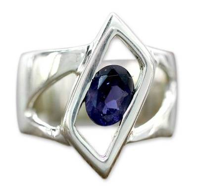 Sterling Silver Single Stone Iolite Ring from Modern Jewelry