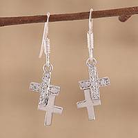 Sterling silver cross earrings, 'To Each a Cross' - Sterling silver cross earrings