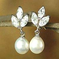 Pearl earrings, 'Snow Blossom' - Pearl earrings