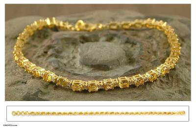 Gold vermeil citrine tennis bracelet, 'Golden Twilight' - Gold vermeil citrine tennis bracelet