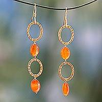 Gold vermeil carnelian dangle earrings, 'Vibrant' - Women's Modern Vermeil and Carnelian Earrings